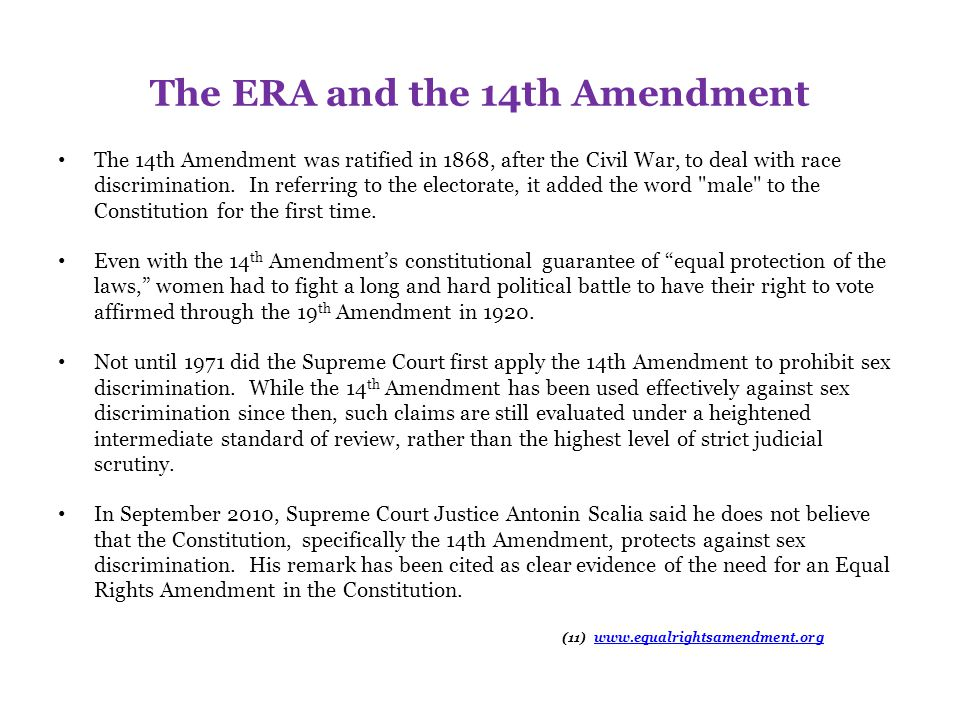 The ERA and the 14th Amendment