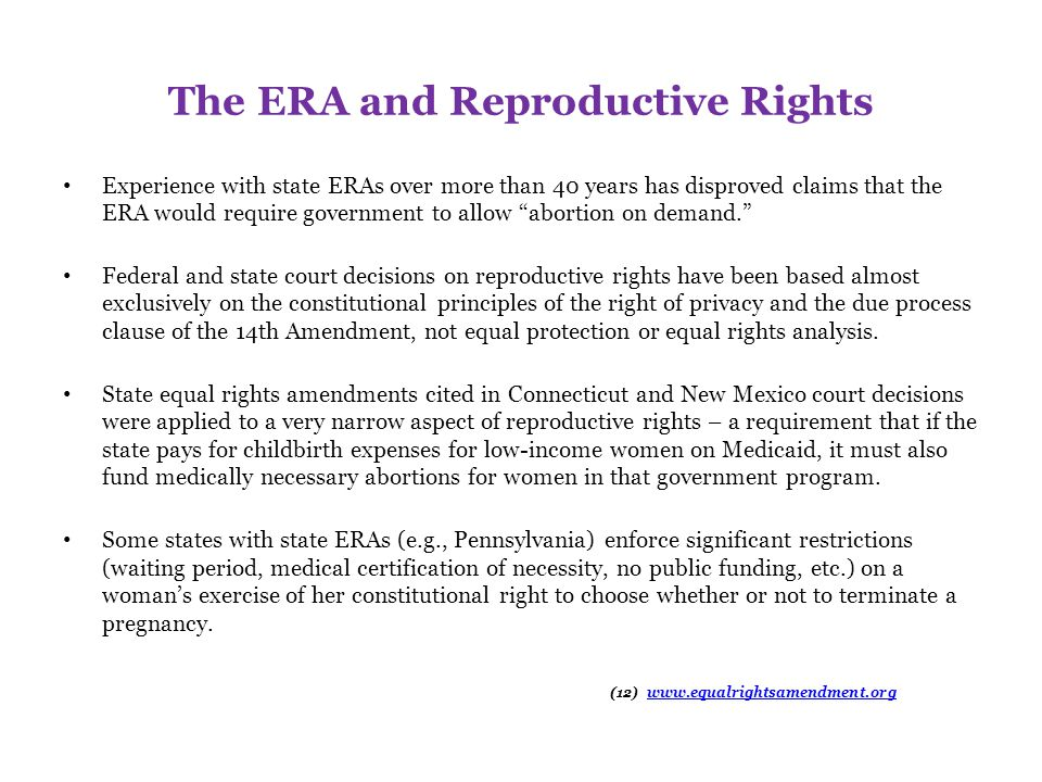 The ERA and Reproductive Rights