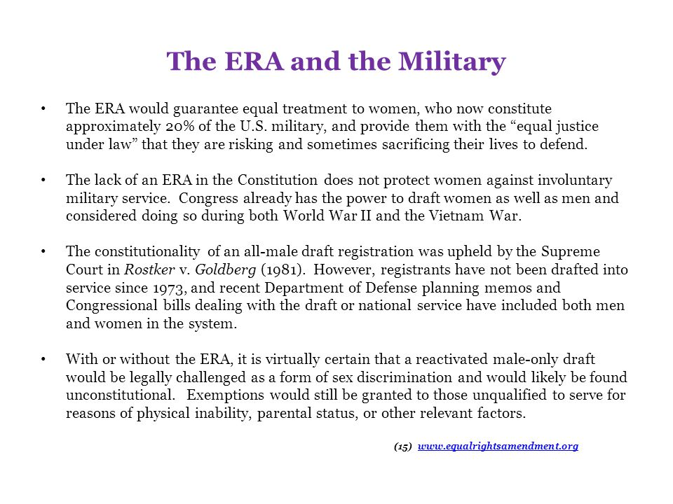 The ERA and the Military