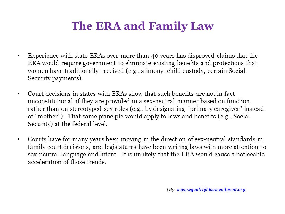 The ERA and Family Law