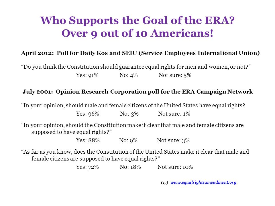 Who Supports the Goal of the ERA Over 9 out of 10 Americans!