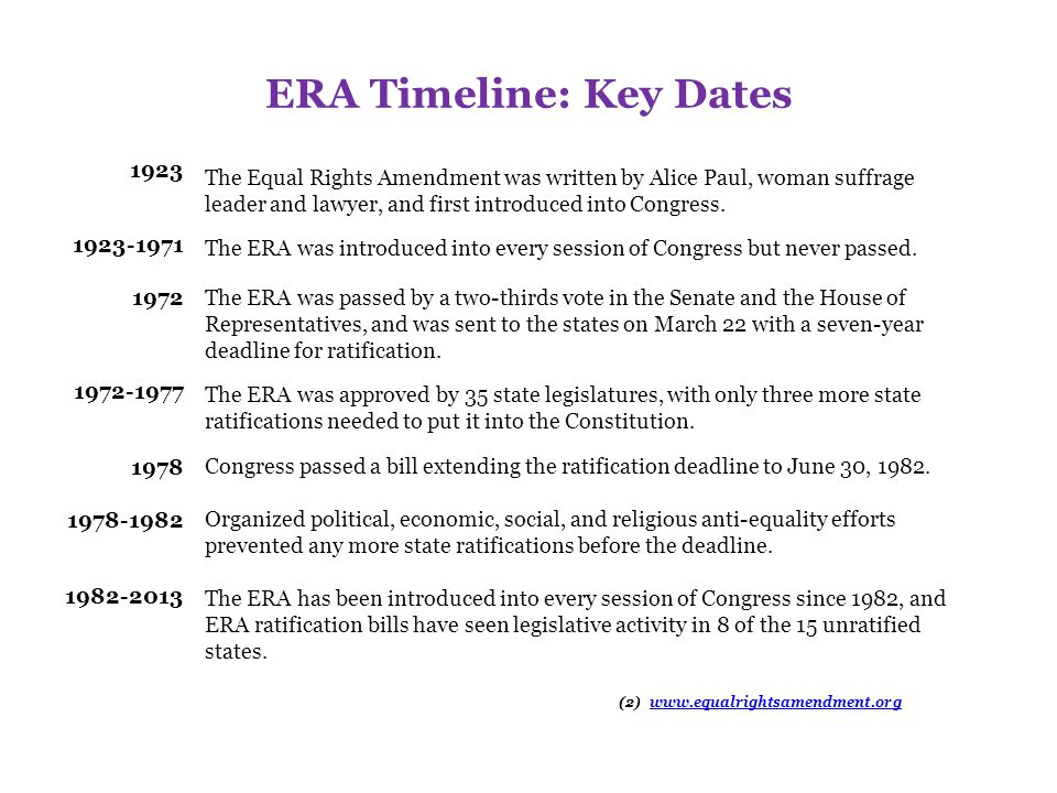 ERA Timeline: Key Dates