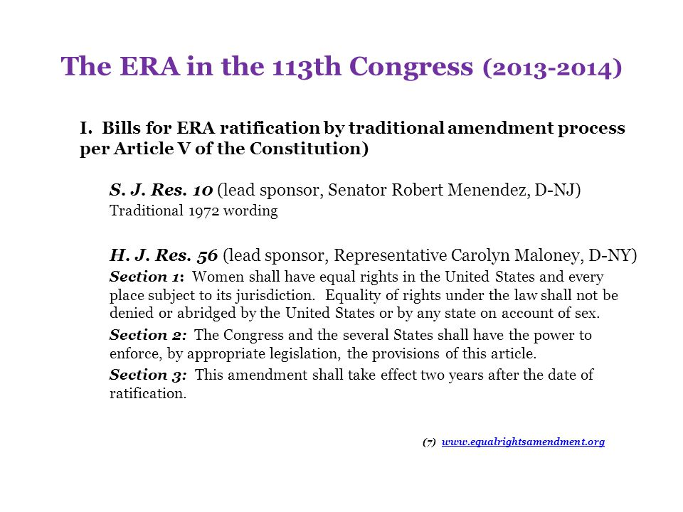 The ERA in the 113th Congress (2013-2014)