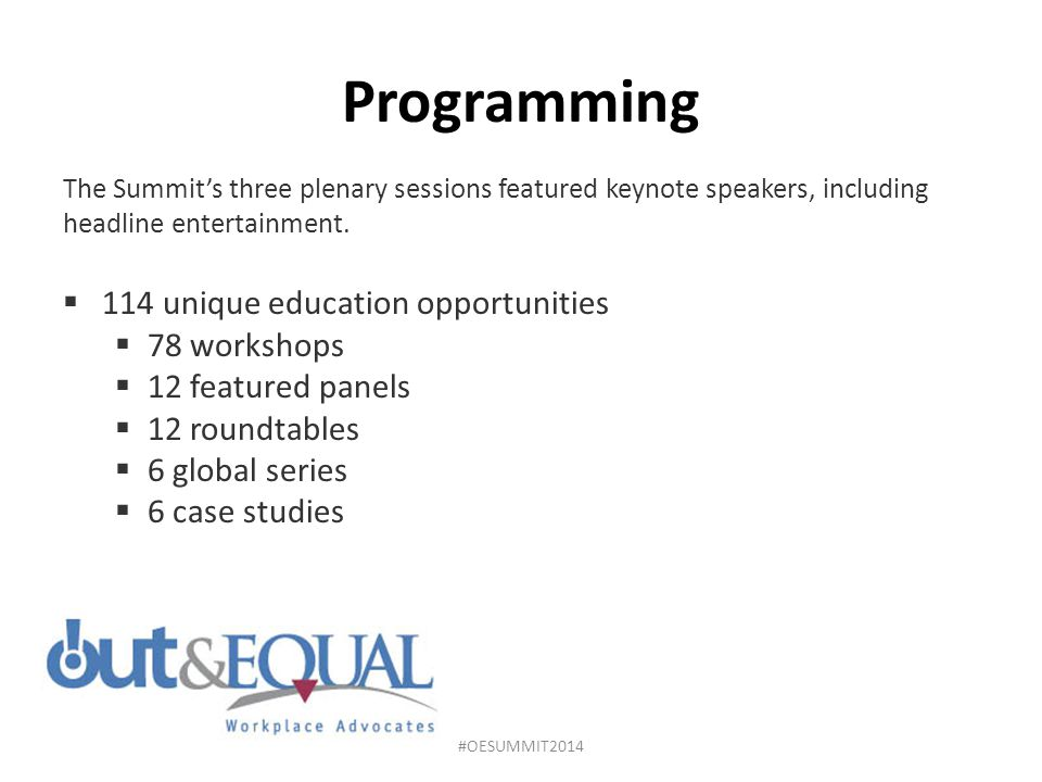 Programming 114 unique education opportunities 78 workshops