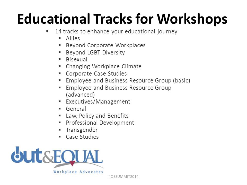 Educational Tracks for Workshops