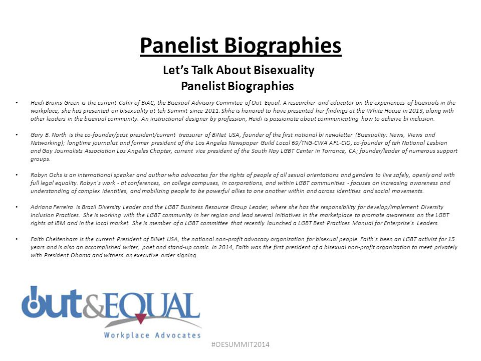 Let's Talk About Bisexuality Panelist Biographies