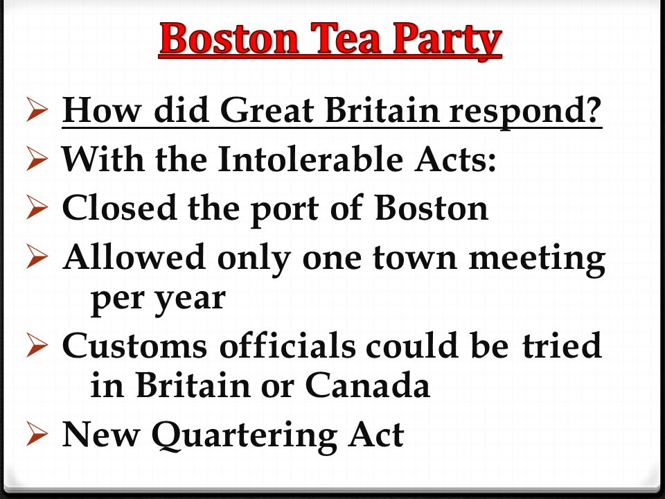 Boston Tea Party How did Great Britain respond