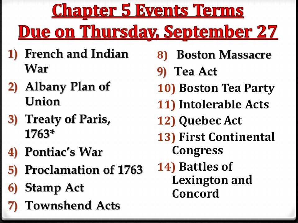 Chapter 5 Events Terms Due on Thursday, September 27