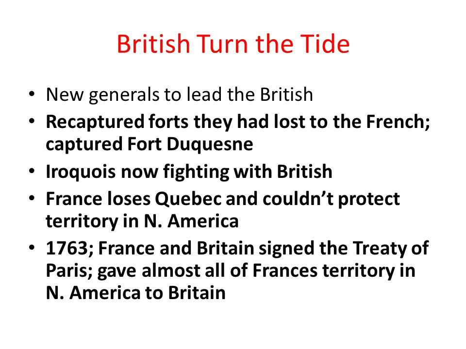 British Turn the Tide New generals to lead the British