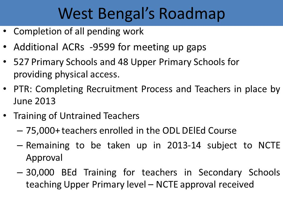 West Bengal's Roadmap Additional ACRs -9599 for meeting up gaps