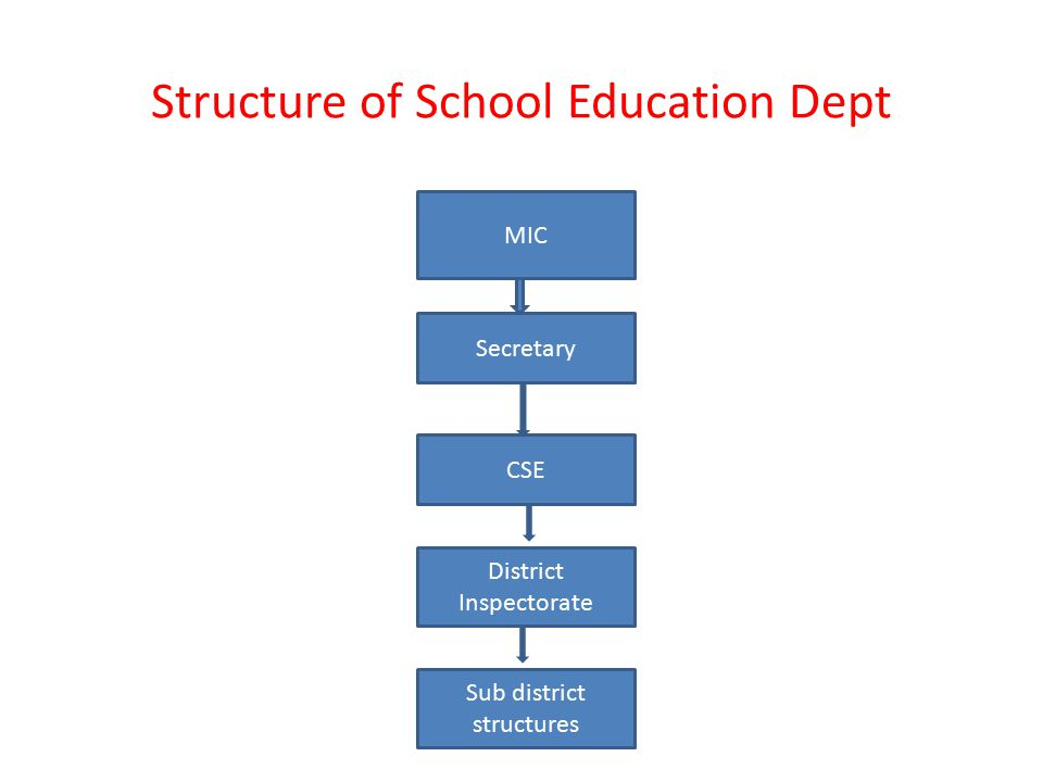 Structure of School Education Dept