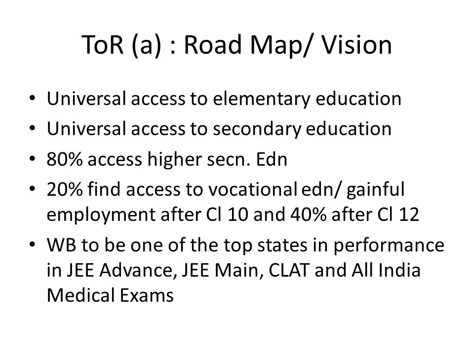 ToR (a) : Road Map/ Vision