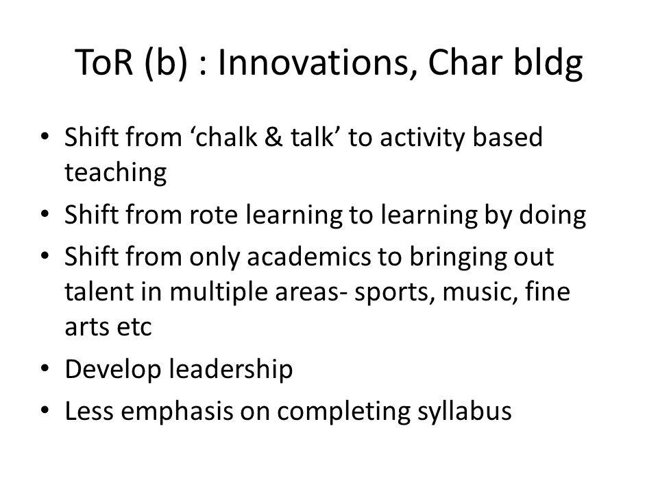 ToR (b) : Innovations, Char bldg