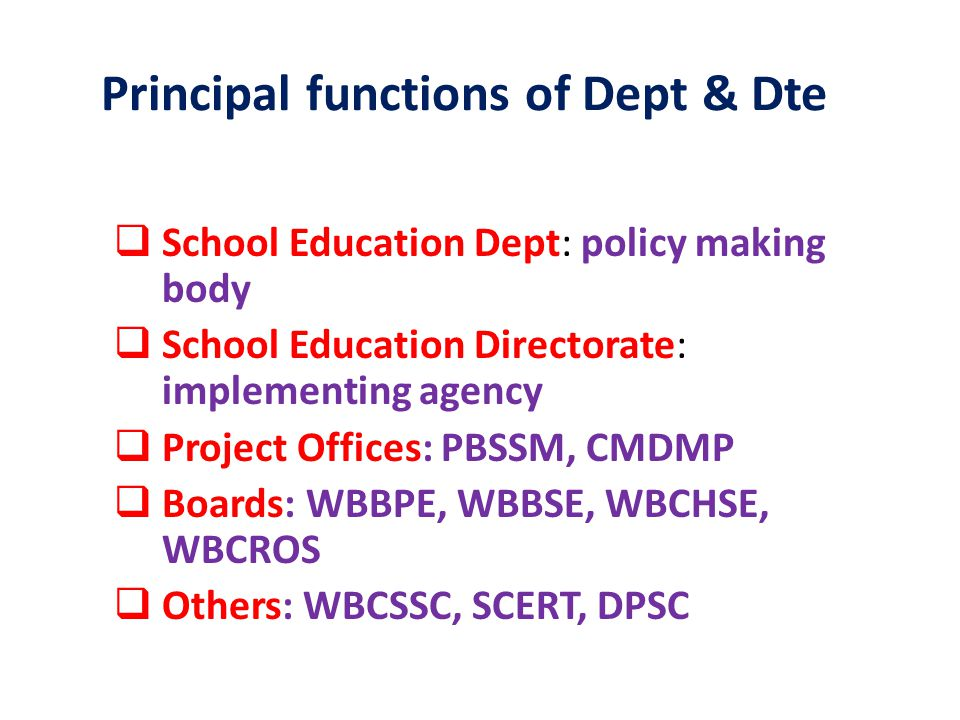 Principal functions of Dept & Dte