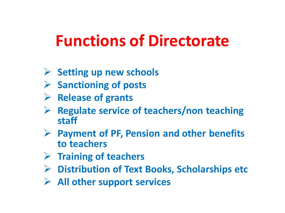 Functions of Directorate