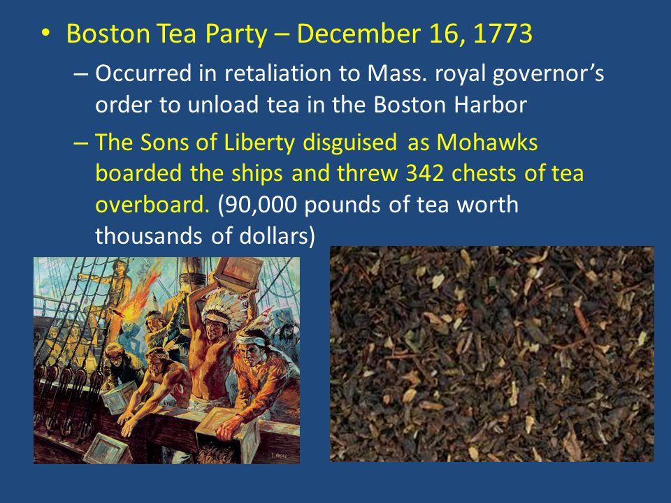 Boston Tea Party – December 16, 1773