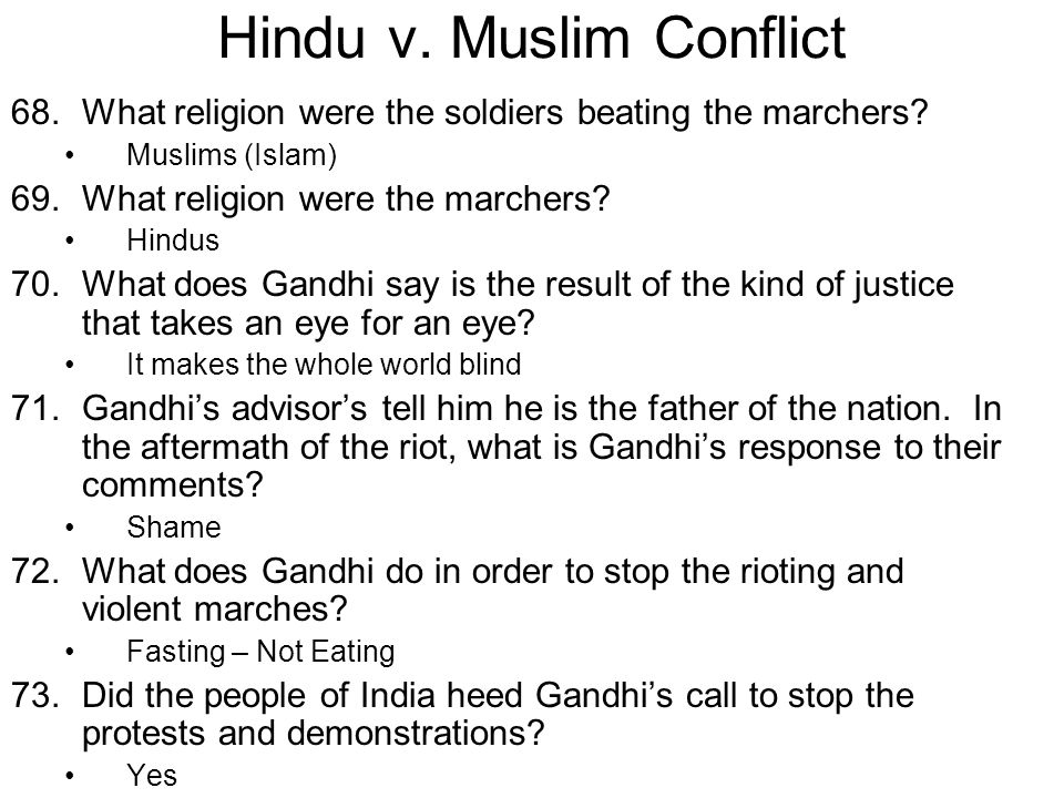 Hindu v. Muslim Conflict