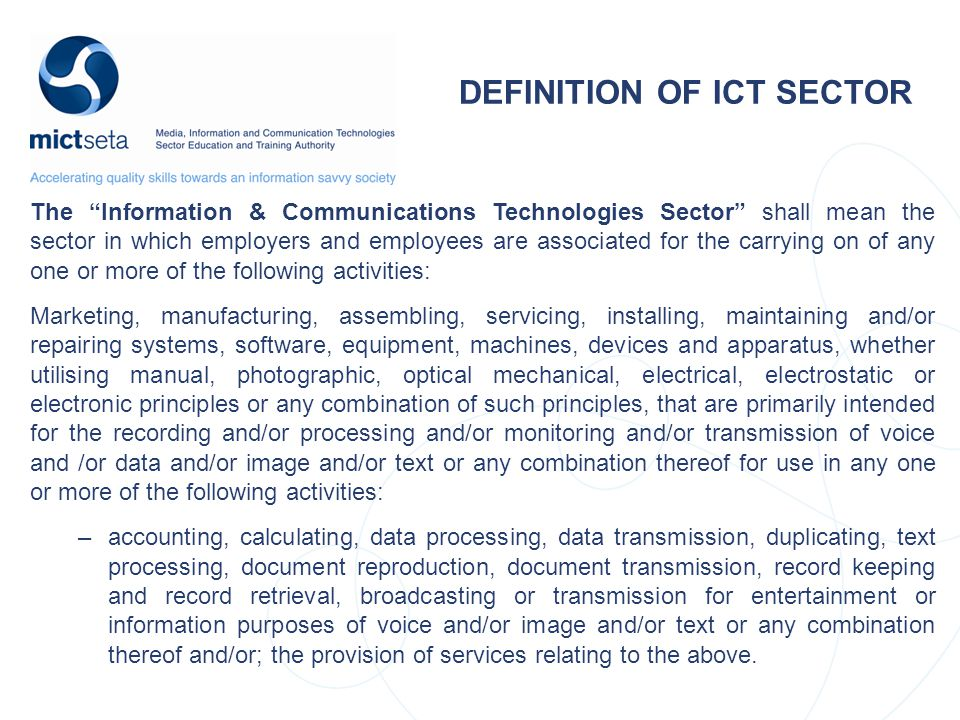 DEFINITION OF ICT SECTOR