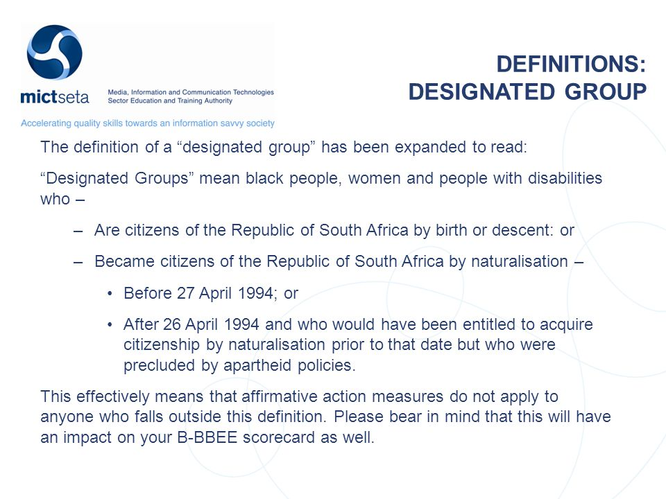 DEFINITIONS: DESIGNATED GROUP