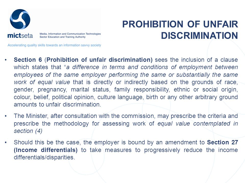 PROHIBITION OF UNFAIR DISCRIMINATION