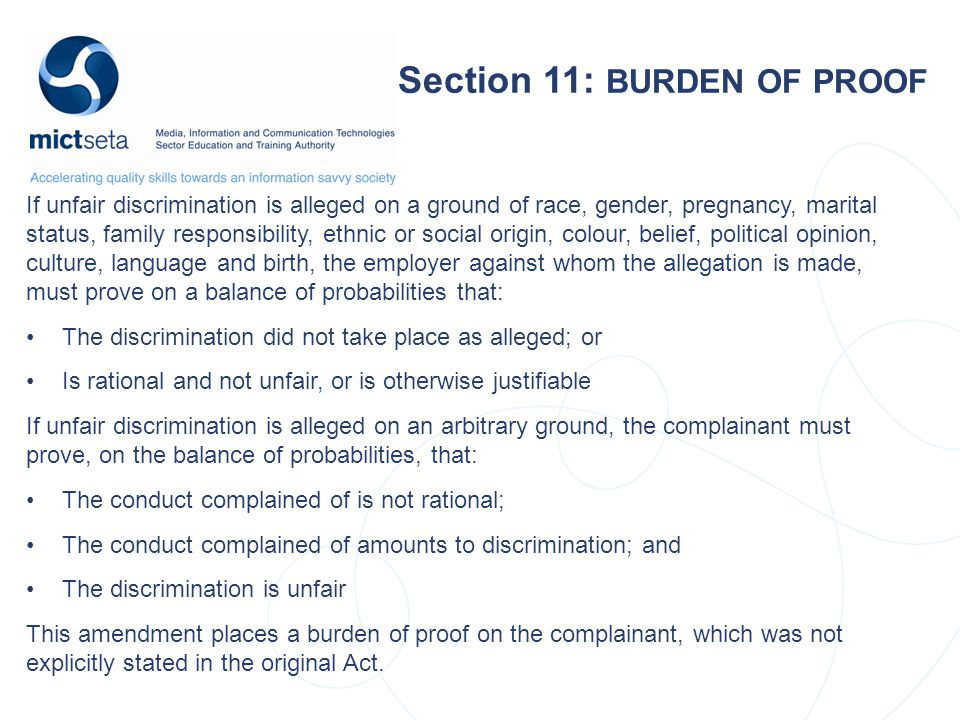 Section 11: BURDEN OF PROOF