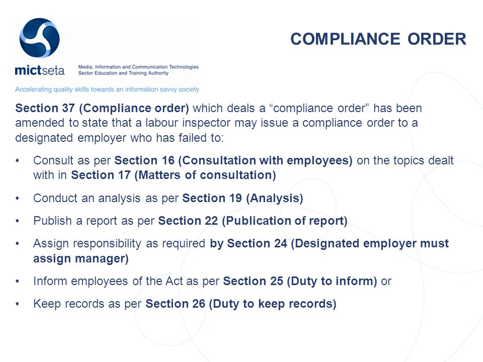 COMPLIANCE ORDER