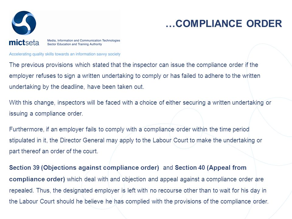 …COMPLIANCE ORDER