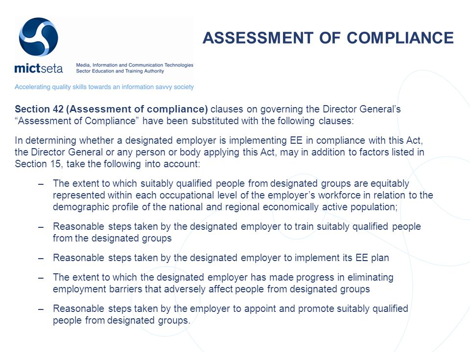 ASSESSMENT OF COMPLIANCE