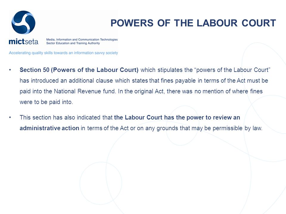 POWERS OF THE LABOUR COURT