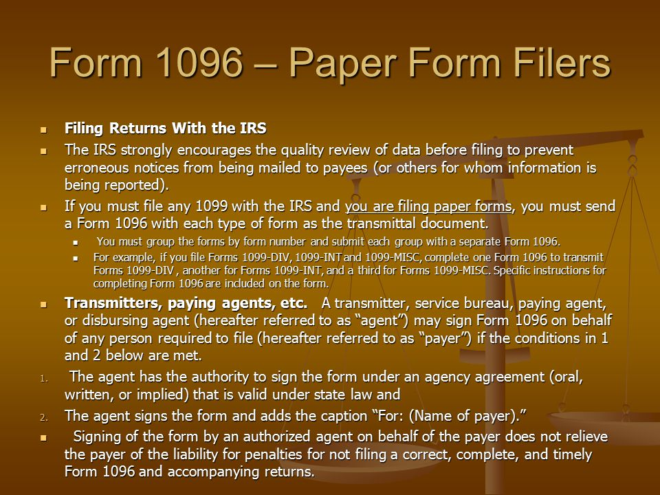 Form 1096 – Paper Form Filers