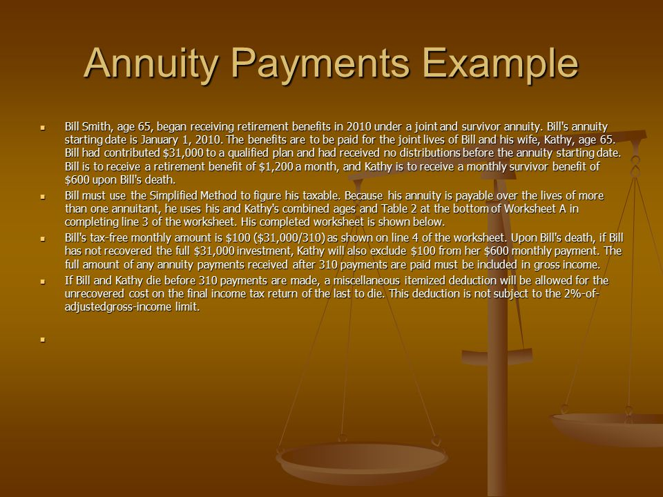 Annuity Payments Example