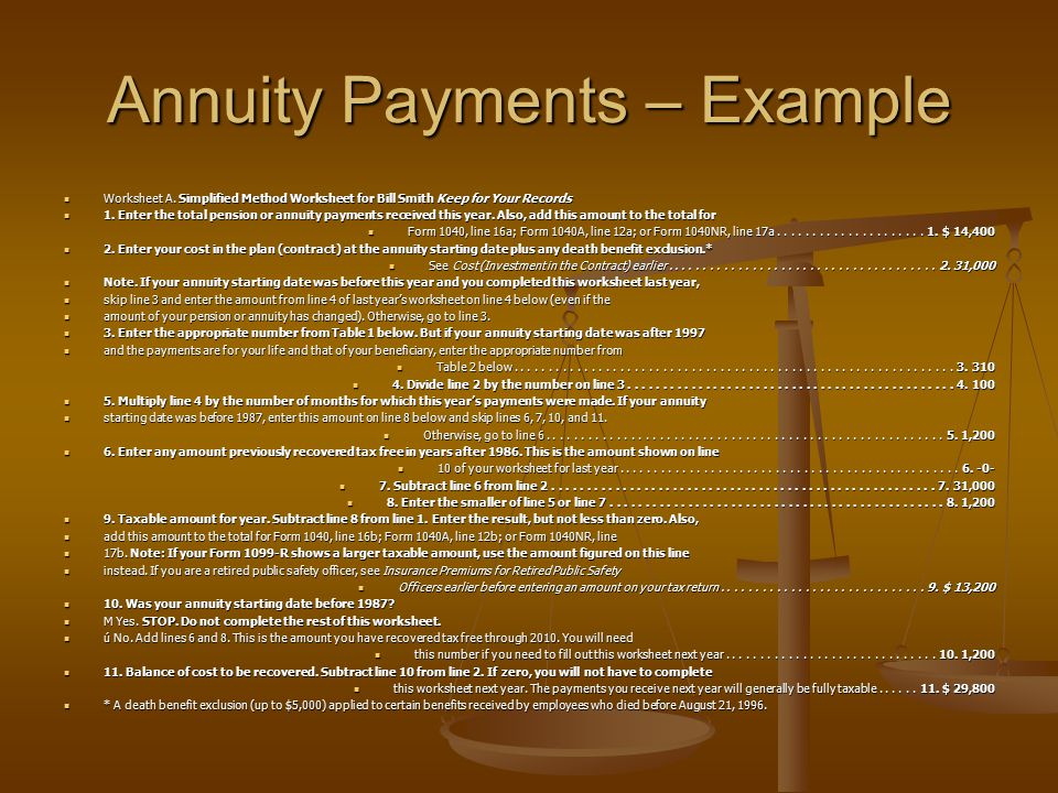 Annuity Payments – Example