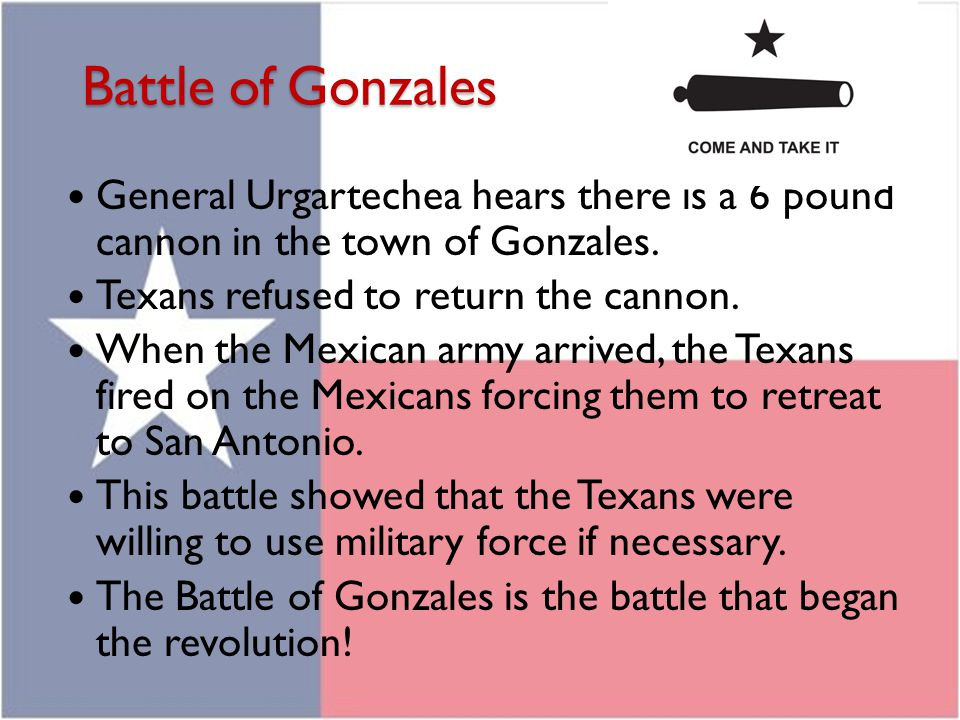 Battle of Gonzales General Urgartechea hears there is a 6 pound cannon in the town of Gonzales. Texans refused to return the cannon.
