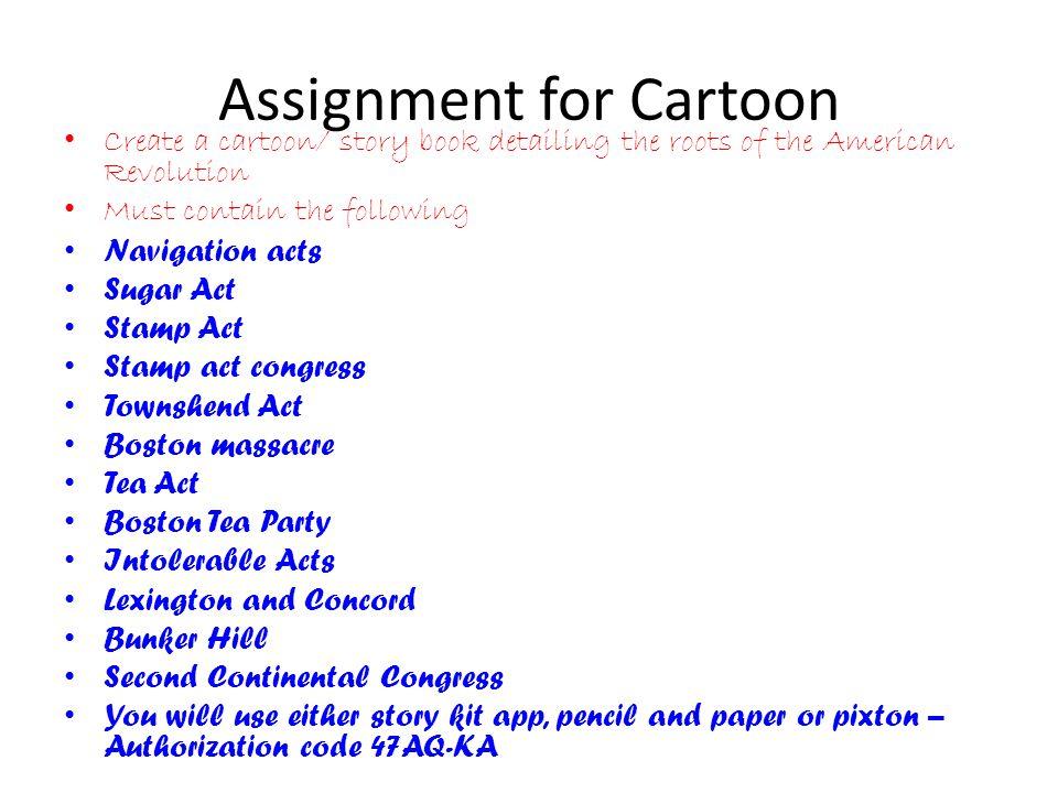 Assignment for Cartoon