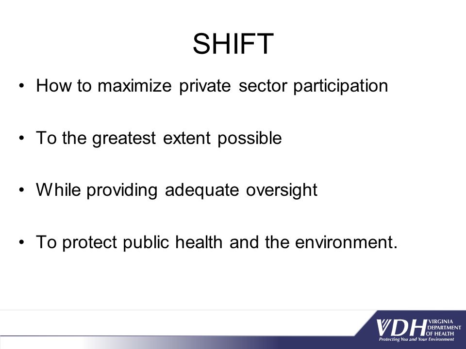 SHIFT How to maximize private sector participation