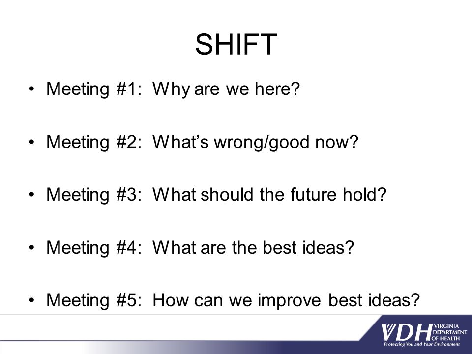 SHIFT Meeting #1: Why are we here Meeting #2: What's wrong/good now