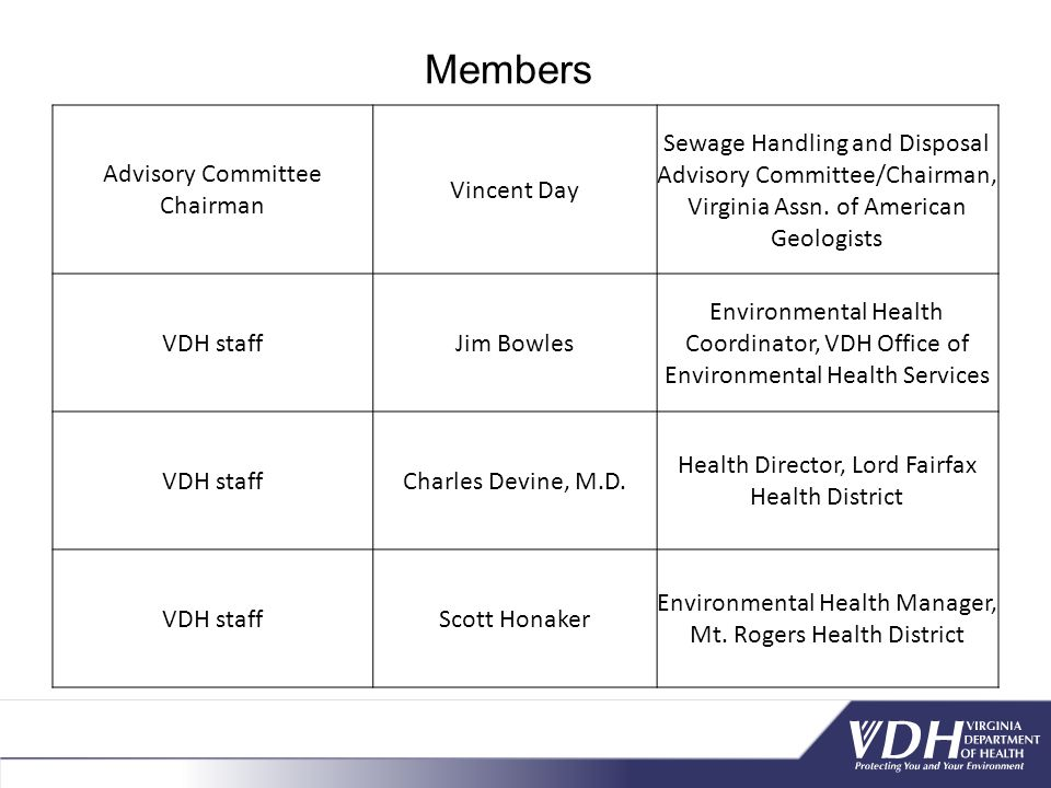 Members Advisory Committee Chairman Vincent Day
