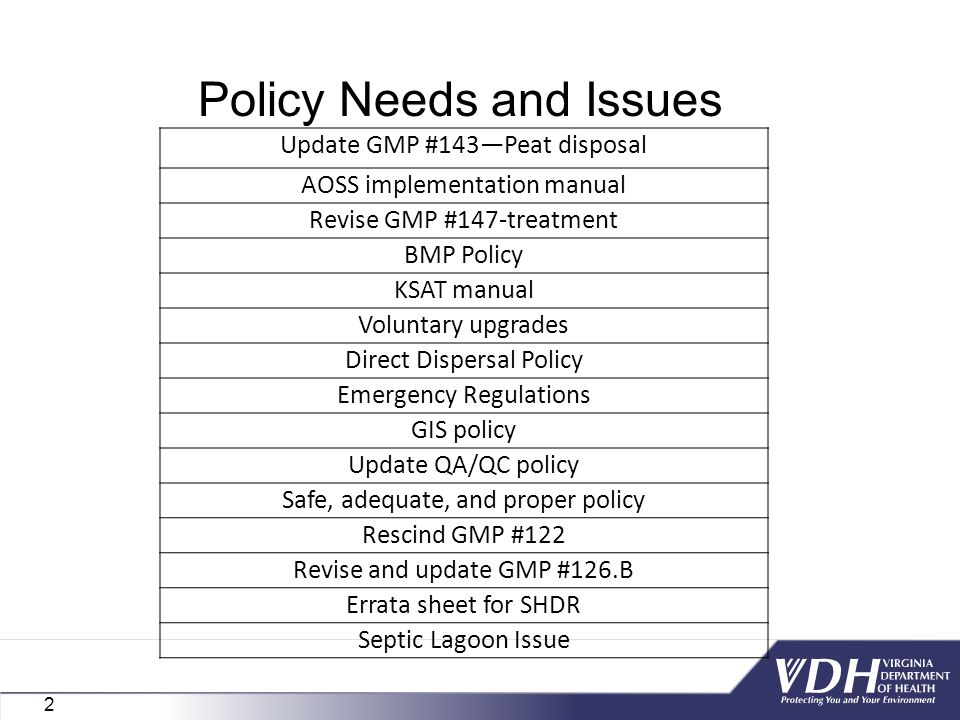 Policy Needs and Issues