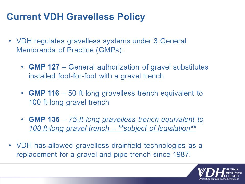 Current VDH Gravelless Policy