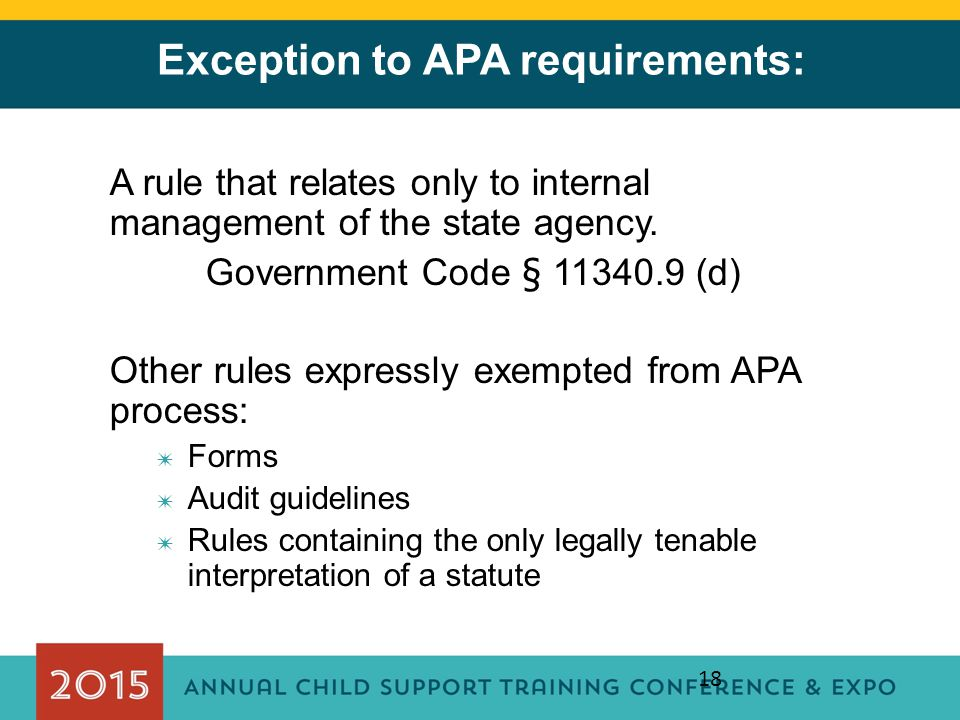 Exception to APA requirements: