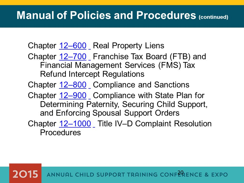 Manual of Policies and Procedures (continued)