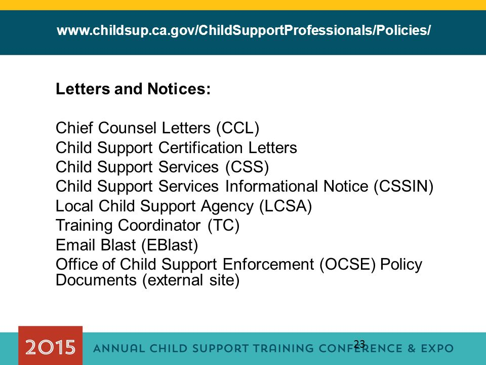 Chief Counsel Letters (CCL) Child Support Certification Letters
