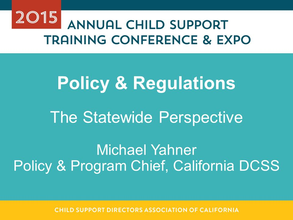 Policy & Regulations The Statewide Perspective Michael Yahner