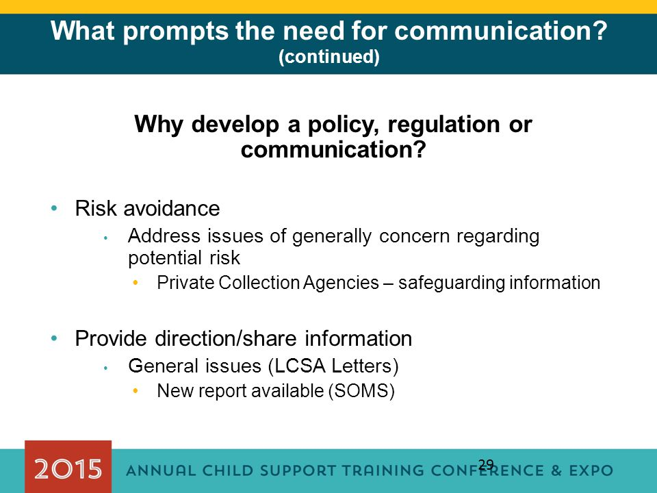 What prompts the need for communication (continued)
