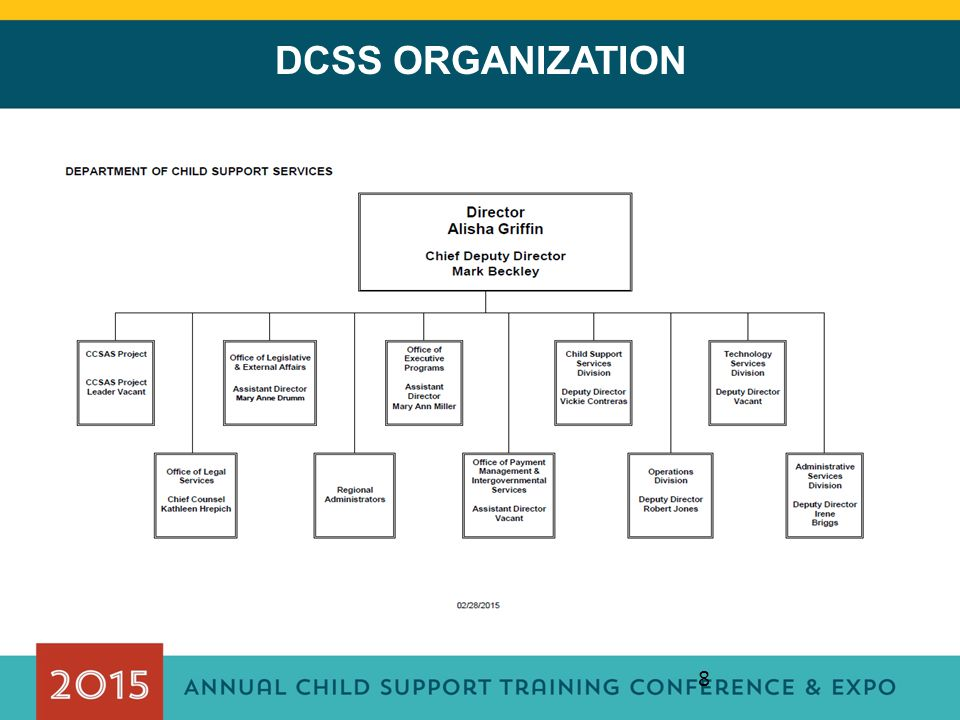 DCSS ORGANIZATION This section gives authority for the Department to adopt regulations according to the Administrative Procedure Act.