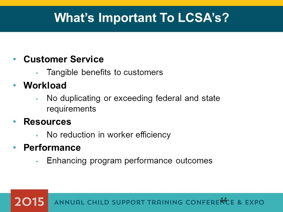What's Important To LCSA's