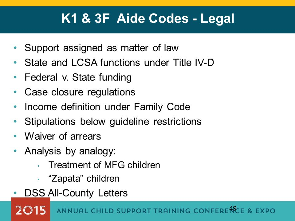 K1 & 3F Aide Codes - Legal Support assigned as matter of law