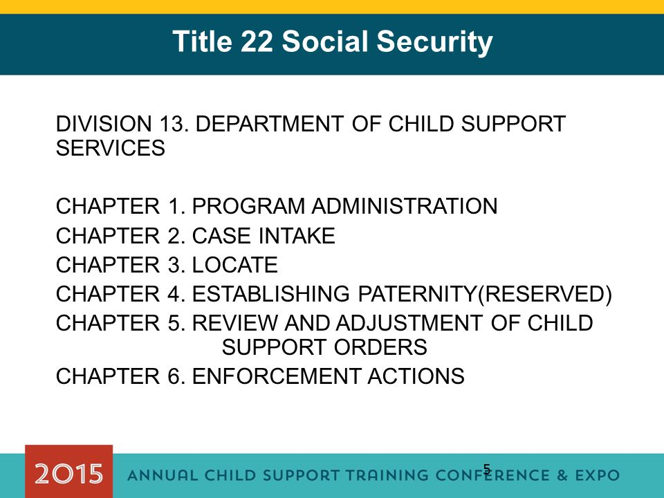 Title 22 Social Security DIVISION 13. DEPARTMENT OF CHILD SUPPORT SERVICES. CHAPTER 1. PROGRAM ADMINISTRATION.