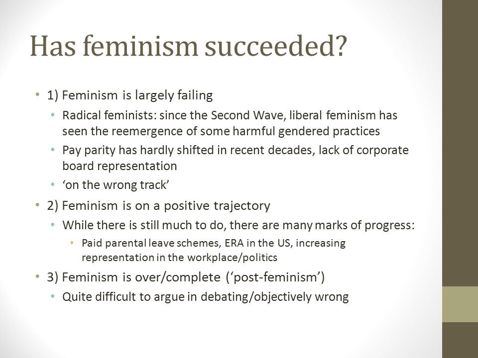 Has feminism succeeded