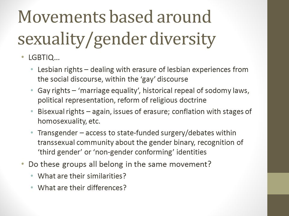 Movements based around sexuality/gender diversity